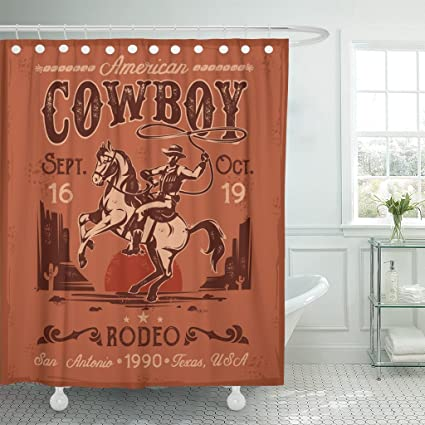 Emvency Shower Curtain Western Rodeo With Cowboy Sitting On Rearing Horse In Retro Style Rider Waterproof