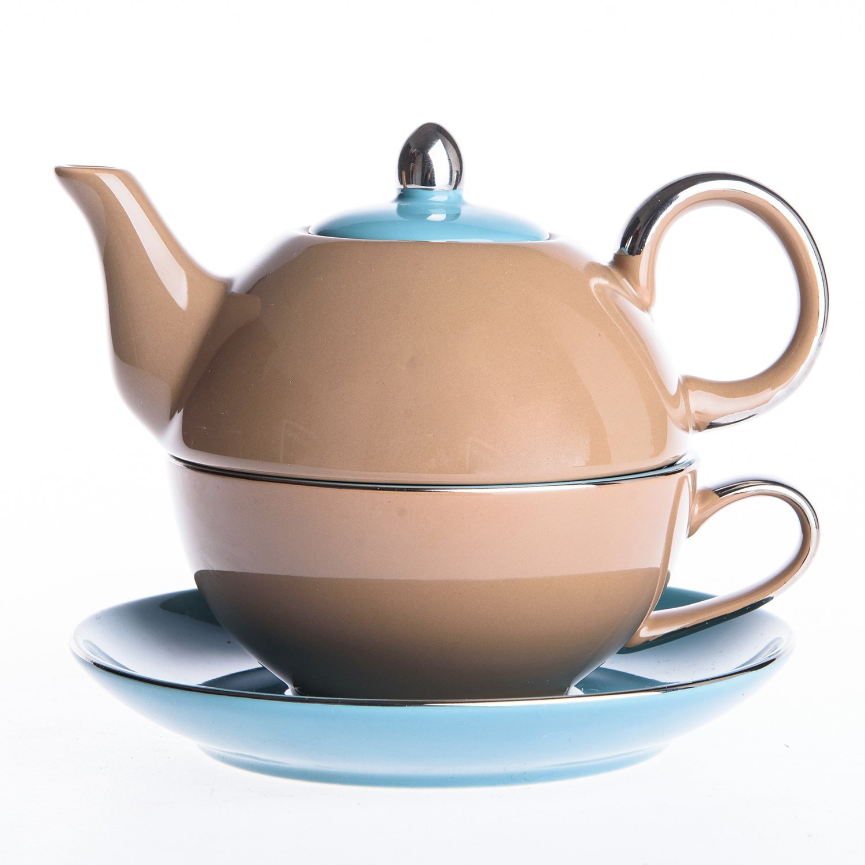 Artvigor Porcelain Tea Set for One, Mixed Colors Glazed Teapot Teacup and Saucer (Blue&Brown)