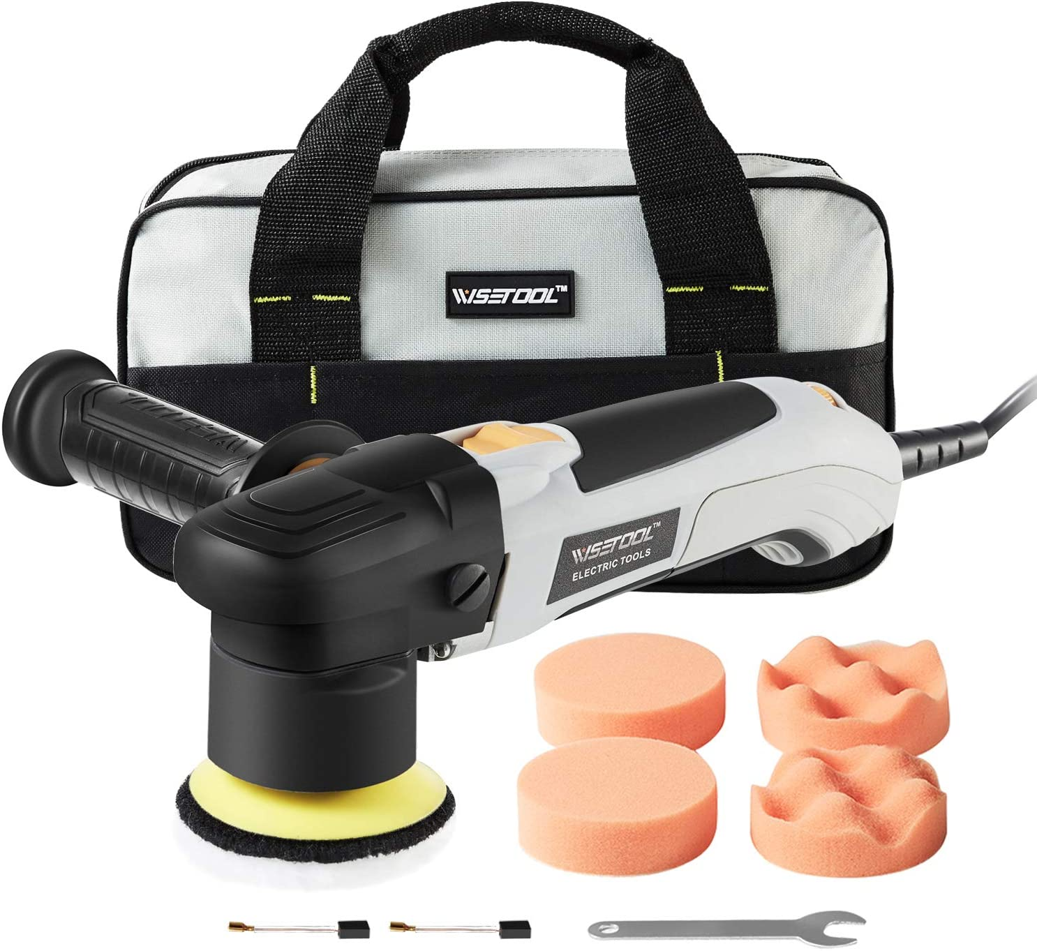 WISETOOL 300W 2.5Amp Dual Action Orbital Polisher,3 Inch Variable Speed Polisher Sander for Home Appliance Polishing,Car Sanding,Waxing,Sealing Glaze