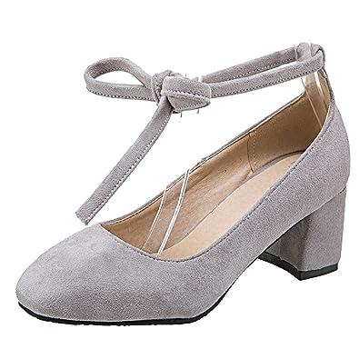 601c5c86a4 AIYOUMEI Damen Wildleder Chunky Heel Pumps mit Schnürung und 6cm Absatz  Blockabsatz Bequem Schuhe