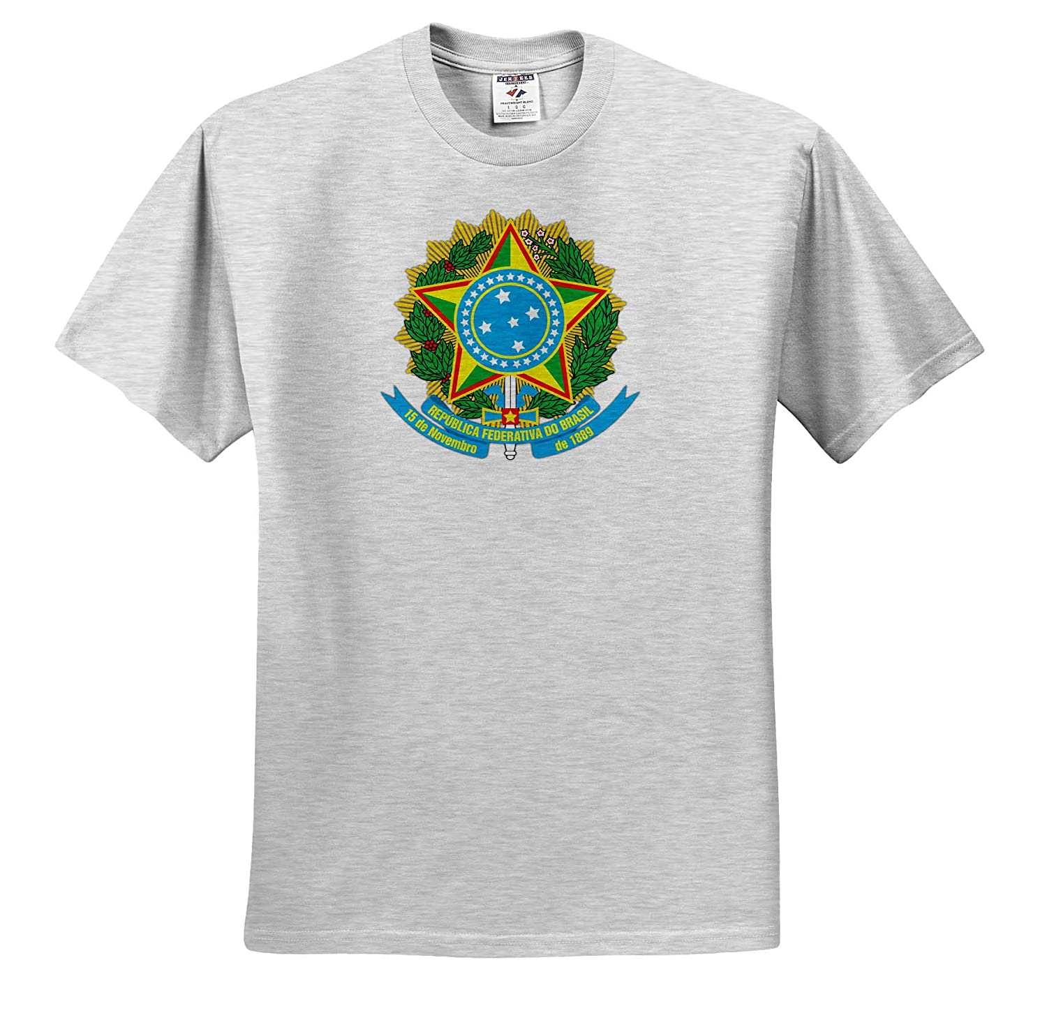 Adult T-Shirt XL ts/_319541 3dRose Carsten Reisinger Illustrations Brazil Coat of Arms National Symbol Icon