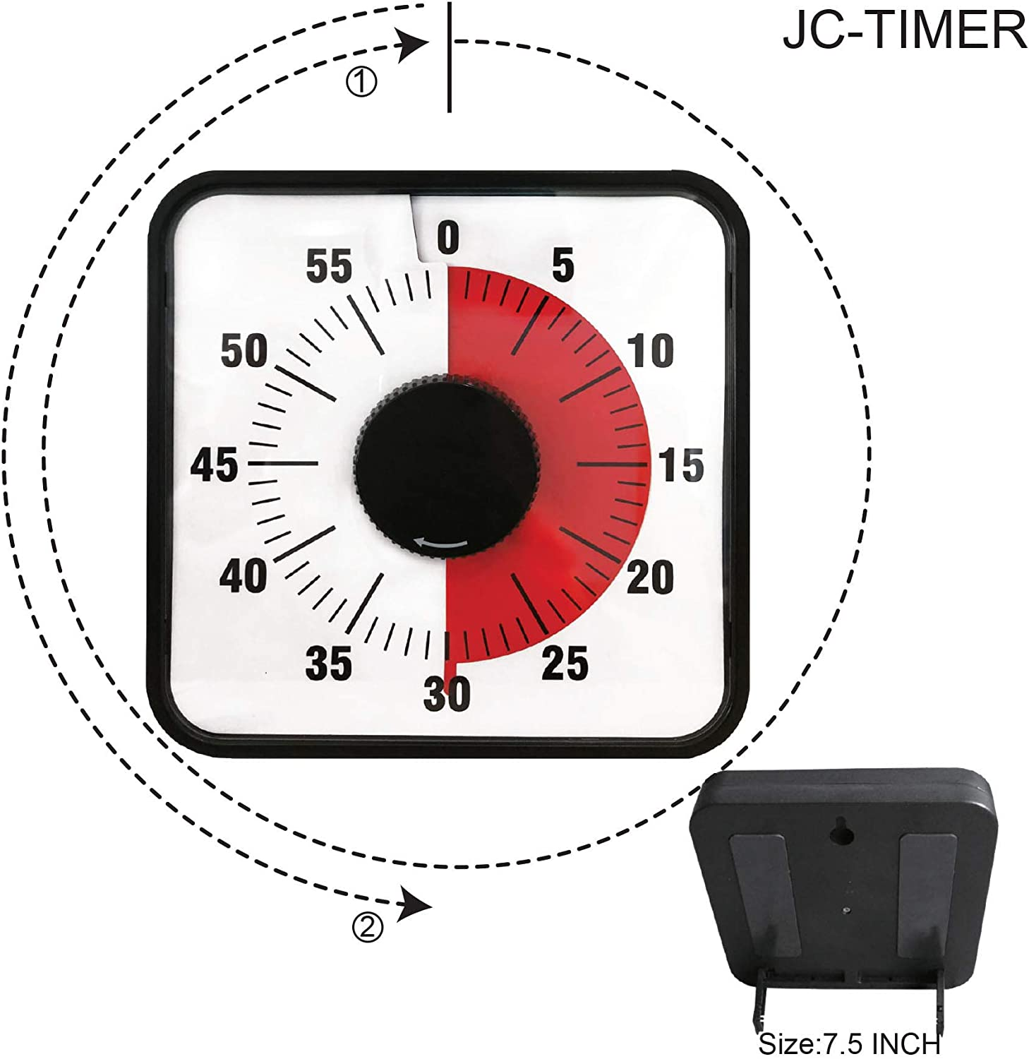 Kitchen Timer 60-Minute Mechanical Visual Timers for Cooking, 7.5-Inch Oversize Countdown Clock for Teaching, Meeting, Facial with Magnetic Backing, Collapsible Legs, Hanging Hole (Red)