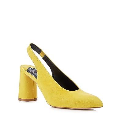 294bbf898ddb Debenhams Faith Womens Yellow Suedette  Craig  Slingback Mid Block ...