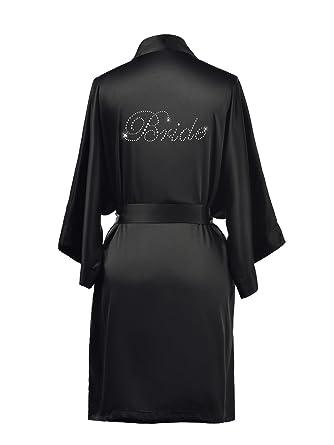 AWEI Personalized Satin Bridal Robes for Bride and Bridesmaid Gifts Short  Womens Bathrobe Sleepwear Black XS 8ea6b5646