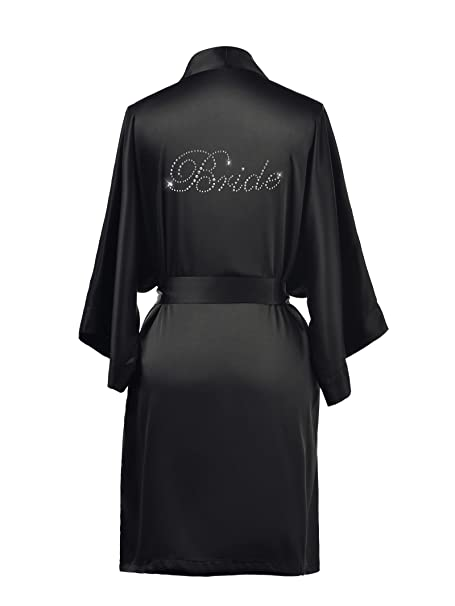 70226604790 AW Satin Bride Robe Gifts Short Womens Kimono Robe for Wedding Party Black  XS