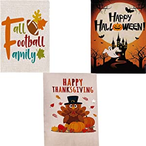 Season Garden Flags-2020 Newest Set of 3 Garden Flags -Fall Football Family,Happy Halloween,Happy Thanksgiving Holiday Decorations for Outdoor Yard -Holidays Flags for Entire Fall