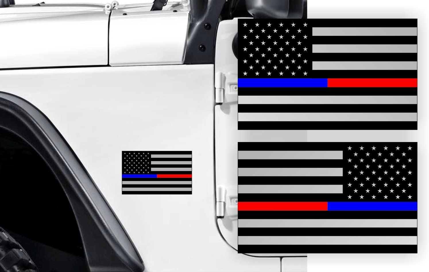 Jeep Wrangler Hood Decal  American Flag USA Die Cut Vinyl THIN BLUE RED LINE usa