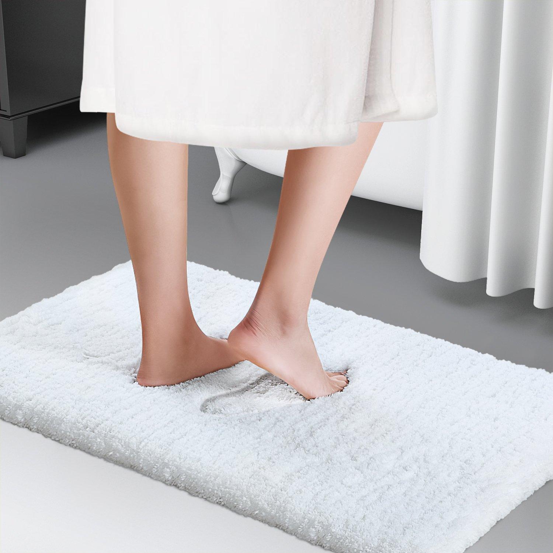 Soft Shaggy Bath Mat Non-slip Rubber Bathroom Rug Floor Mats Water Absorbent White
