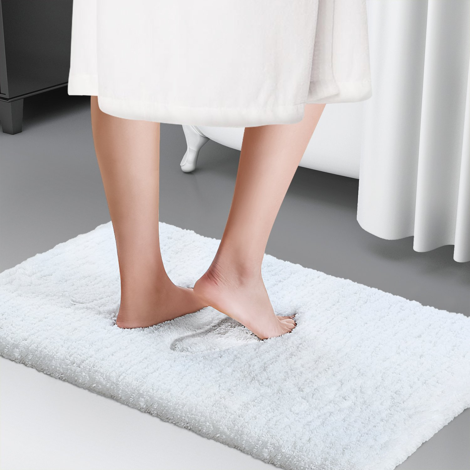 Lifewit Bath Mat White Bathroom Rug Soft Shag Water Absorbent with Non-slip Rubber, 20'' x 32''