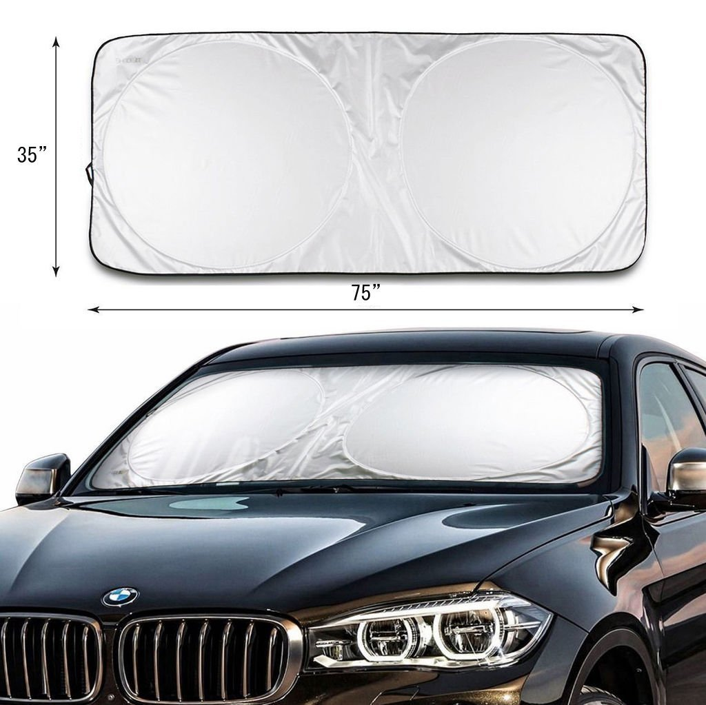 Likorlove Car Windshield Sunshade Jumbo (74'' x 35''),Blocks UV Rays Sun Visor Protector,Sunshade To Keep Your Vehicle Cool And Damage Free,Easy To Use,Fits Windshields of Various Sizes