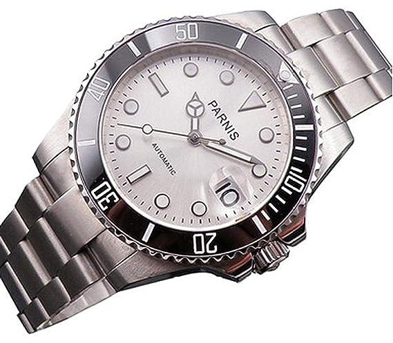 Parnis - Relojes mecánicos automáticos para Hombre, Acero Inoxidable, Color Plateado y Negro, con Bisel de cerámica: Amazon.es: Relojes