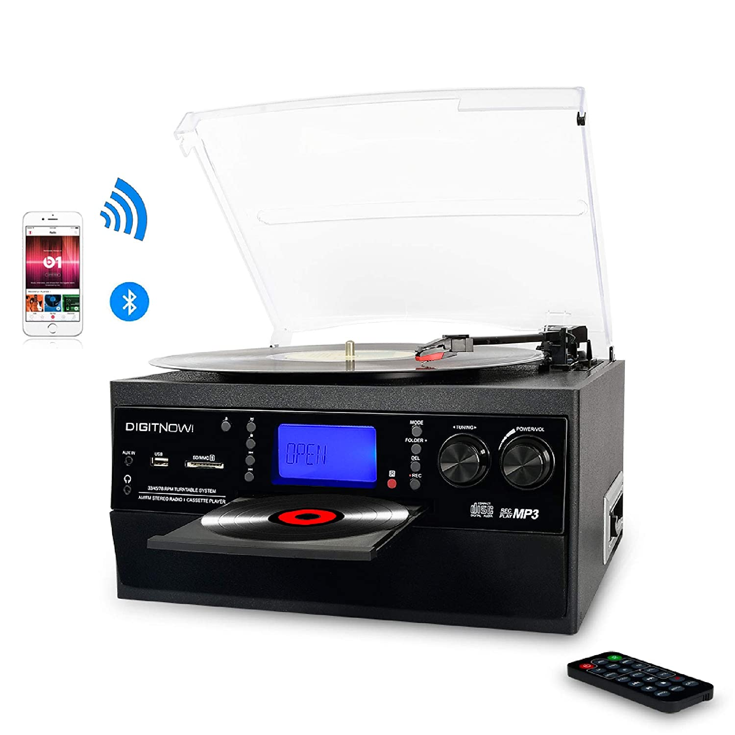 dd66c714f DIGITNOW! Bluetooth Viny Record Player Turntable, CD, Cassette, AM/ FM  Radio and Aux in with USB Port & SD Encoding- Remote Control, Built-in  stereo ...