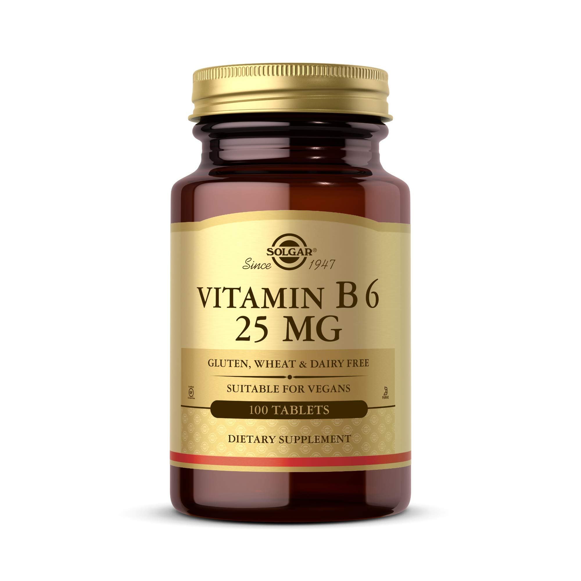 Solgar Vitamin B6 25 mg, 100 Tablets - Supports Energy Metabolism, Heart Health & Healthy Nervous System - B Complex Supplement - Vegan, Gluten Free, Dairy Free, Kosher - 100 Servings