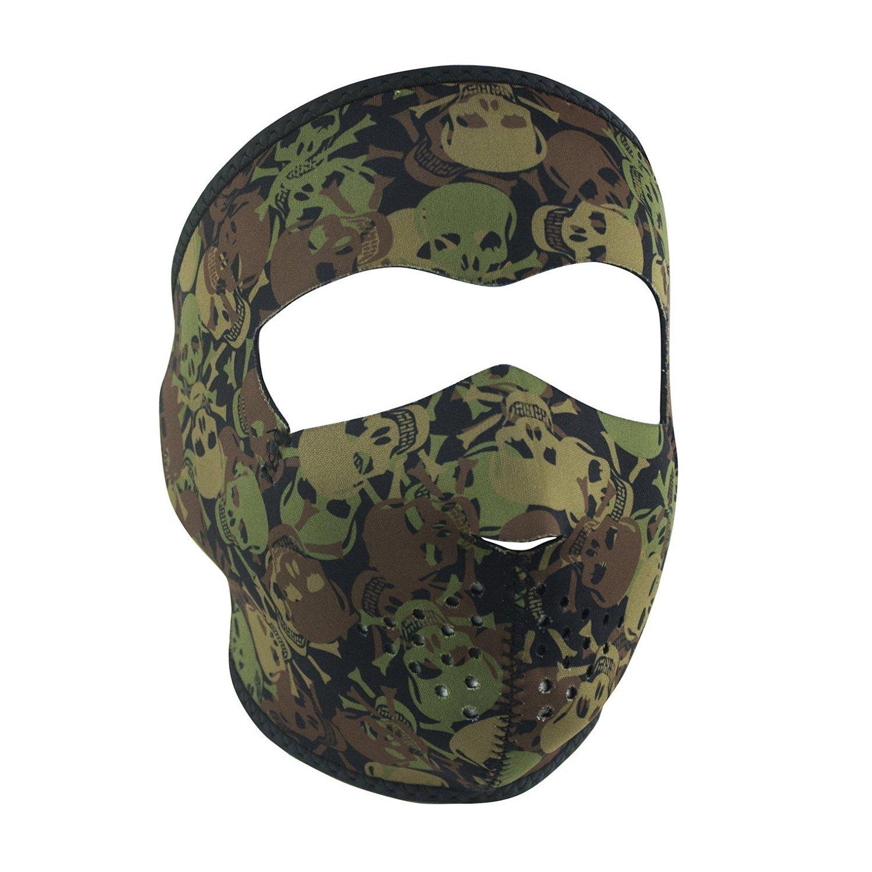 Skull Camo Camoflauge Green Brown Khaki Reversible to Black Neoprene Full Face Mask