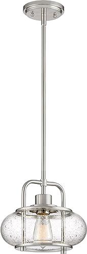 Quoizel TRG1510BN Trilogy Glass Lantern Mini Pendant Ceiling Lighting, 1-Light, 60 Watt, Brushed Nickel 10 H x 10 W