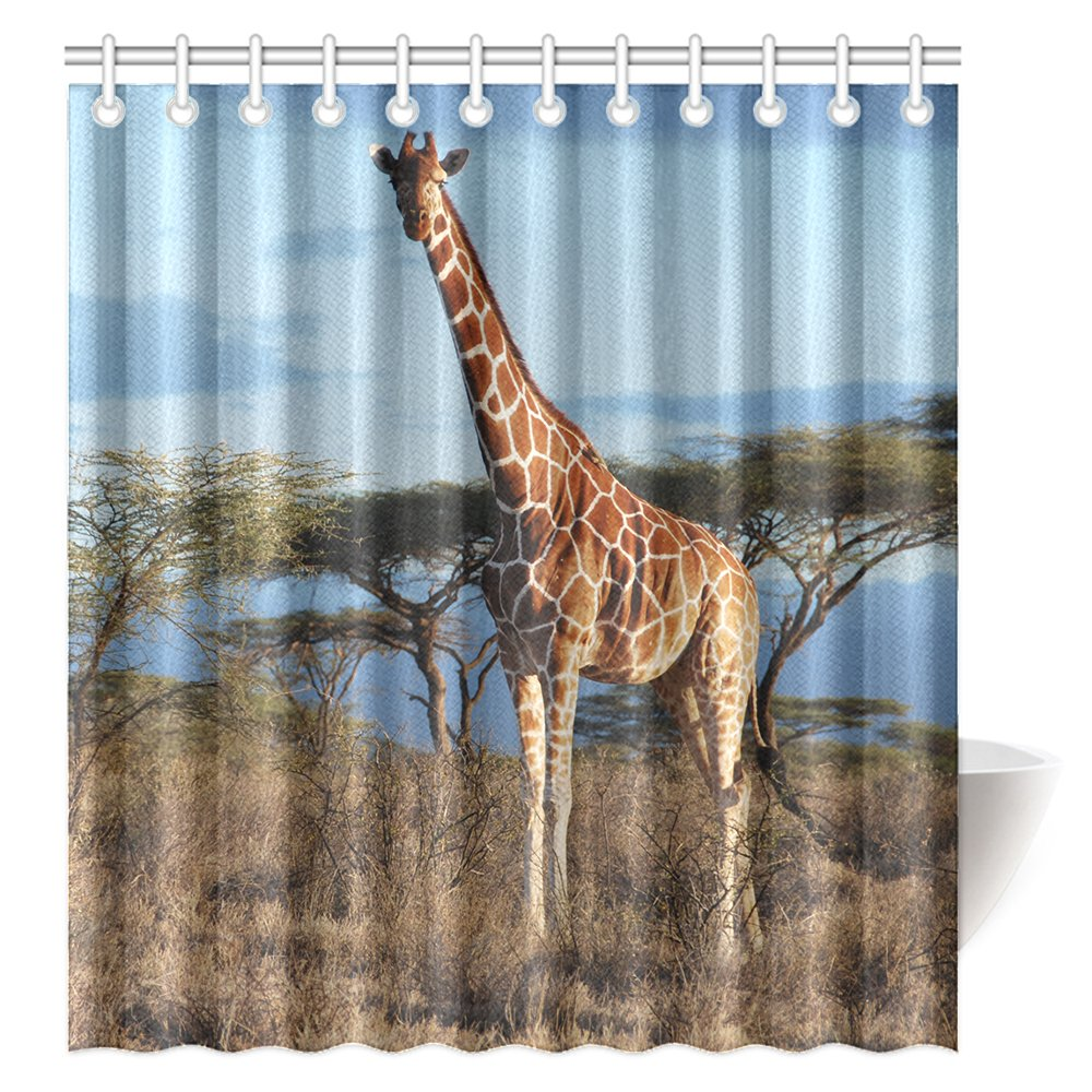 CTIGERS Wild Animal Shower Curtain for Kids Afirca Giraffe Polyester Fabric Bathroom Decoration 66 x 72 Inch