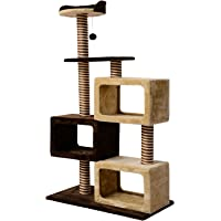 PawHut 51-inch Multi-Level Cat Tree Kitten Scratcher Post with 3 Condos Cat Play House Activity Centre w/Toy