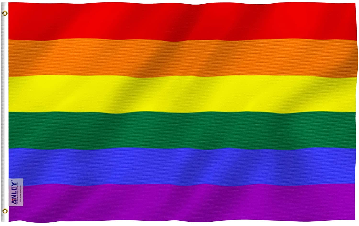 Amazon Com Anley Fly Breeze 3x5 Foot Rainbow Flag 6 Stripes Vivid Color And Fade Proof Canvas Header And Double Stitched Gay Pride Banner Flags Polyester With Brass Grommets