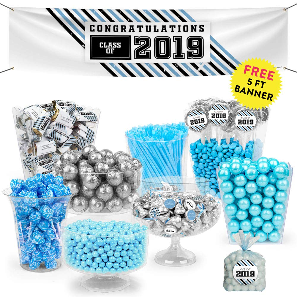Light Blue Graduation Candy Buffet Class of 2019 (Approx 14lbs) - Includes Hershey's Kisses, Dum Dums Lollipops, Gumballs and More by WH Candy (Image #1)