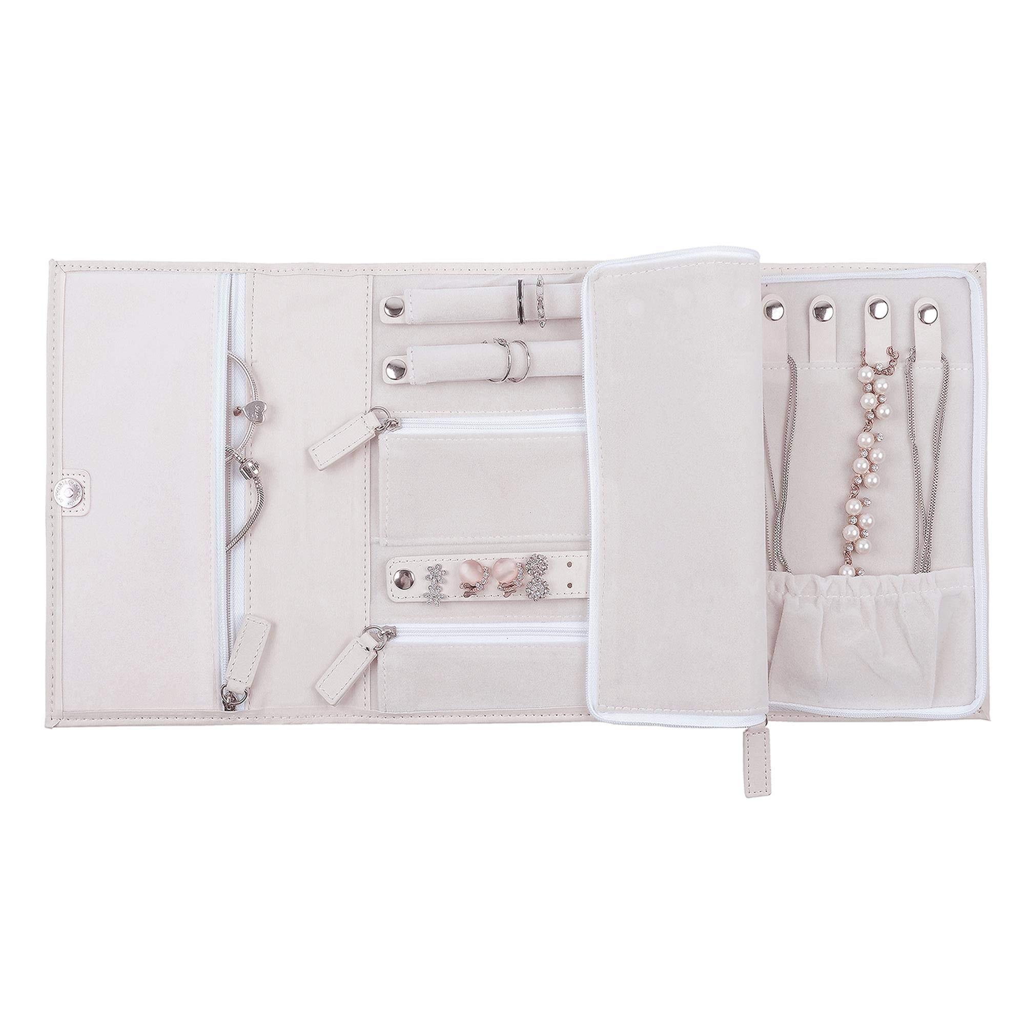 ONLVAN Travel Jewelry Case Jewelry Organizer Vegan Leather Bag Jewelry Storage (White)