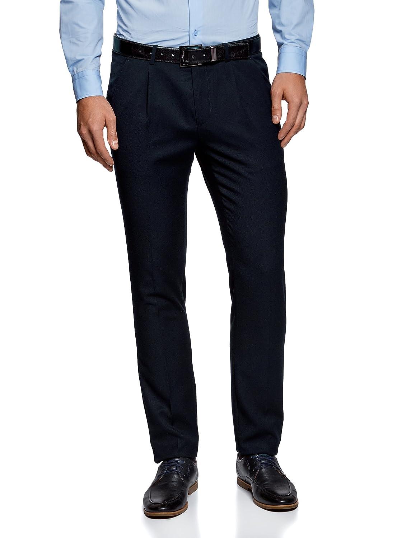 TALLA ES 38 (S). oodji Ultra Hombre Pantalones Ajustados de Tejido Texturizado