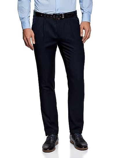 oodji Ultra Hombre Pantalones Slim de Tejido Grueso con
