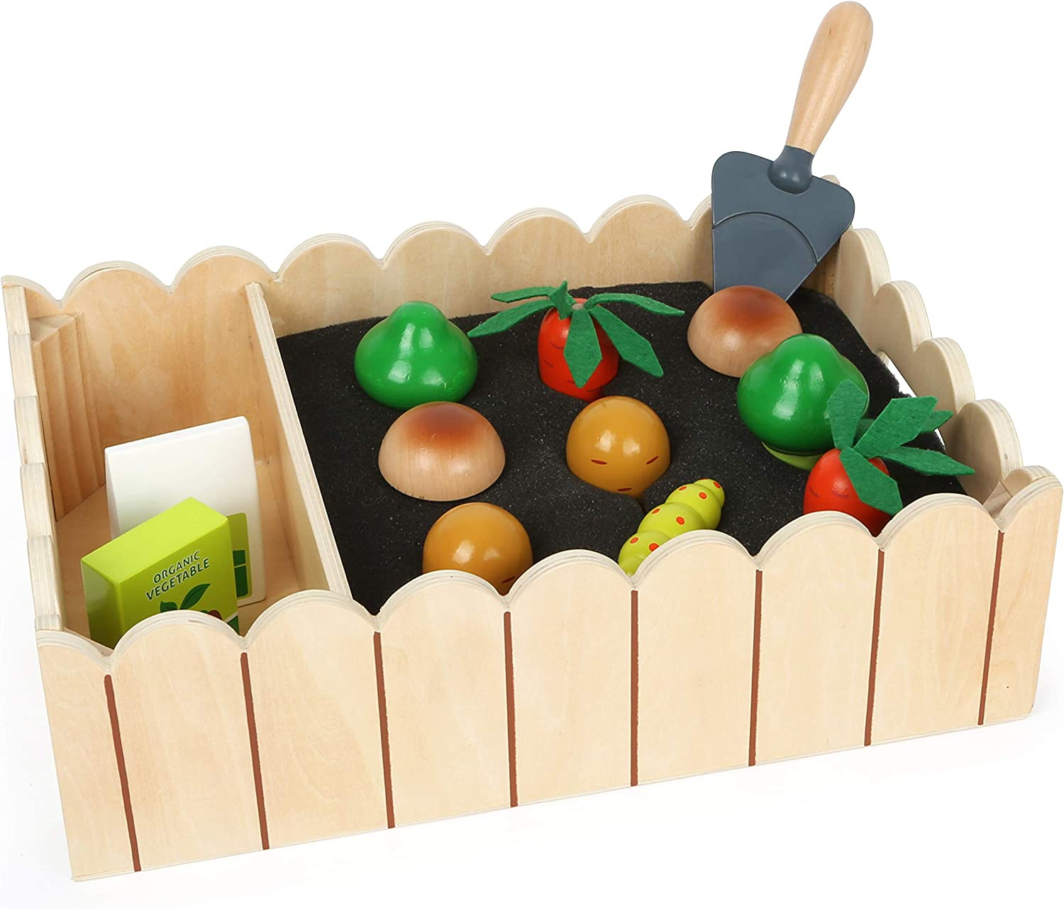 small foot wooden toys Vegetable Garden Complete Playset Designed for Children Ages 3+ Years, Multicoloured (12011)