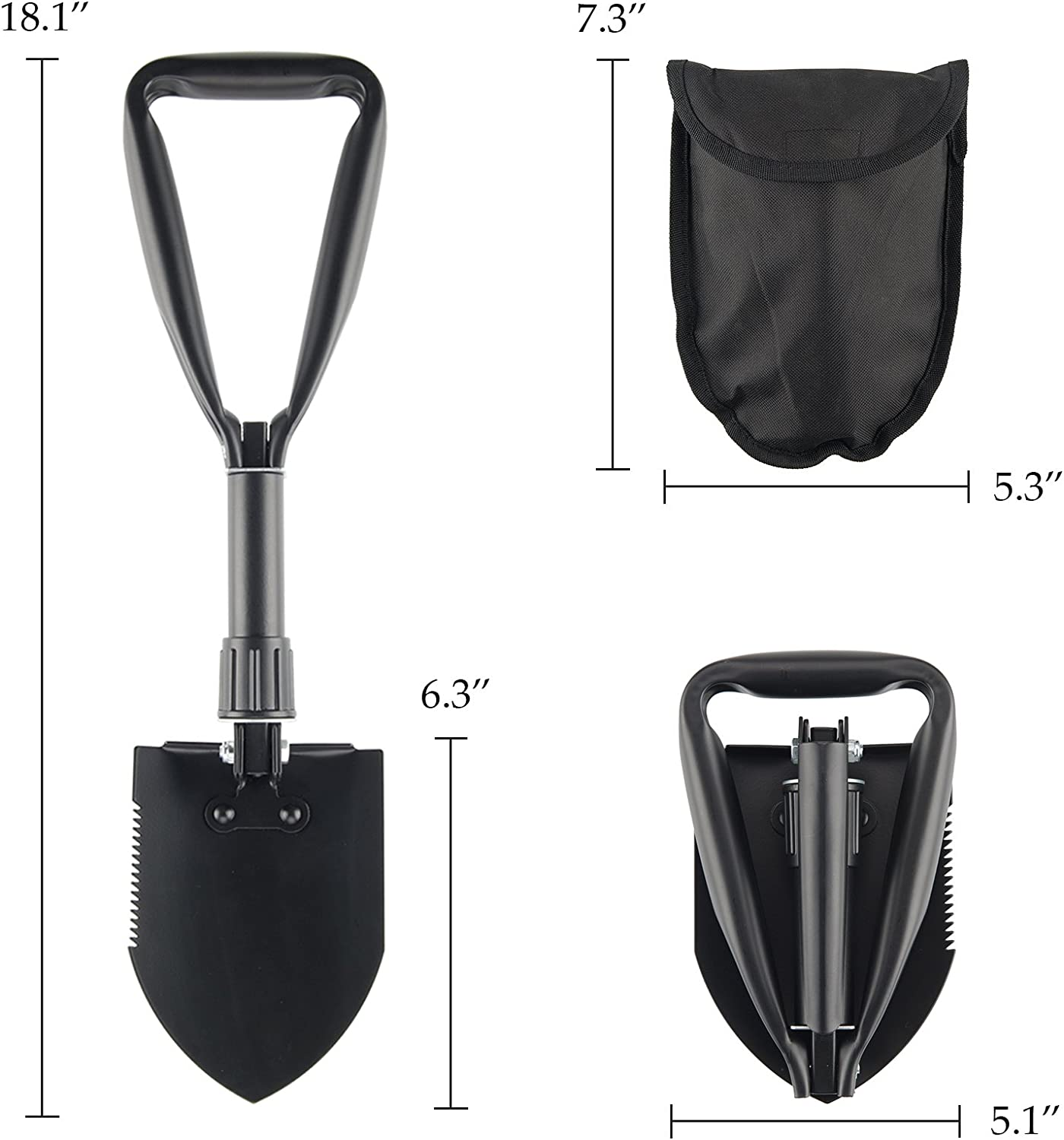 CO-Z Mini Folding Shovel High Carbon Steel Portable Lightweight Outdoor Survival Shovel Camping Backpacking Nylon Carry Case Digging Car Emergency Hiking