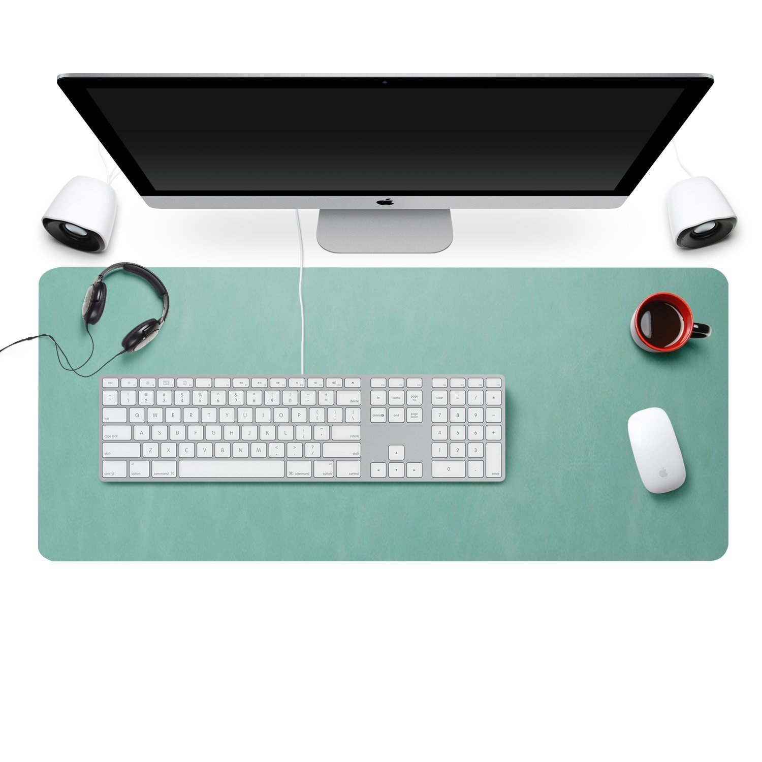 Zoohoo High Quantity Oversized 31.5''x15.7'' Artificial Leather Desk Pad - Non-Slip Smooth Mouse Pad Writing Desk Mate Protective Mat for Office, Home, School,Gaming, Working (Mint Green)