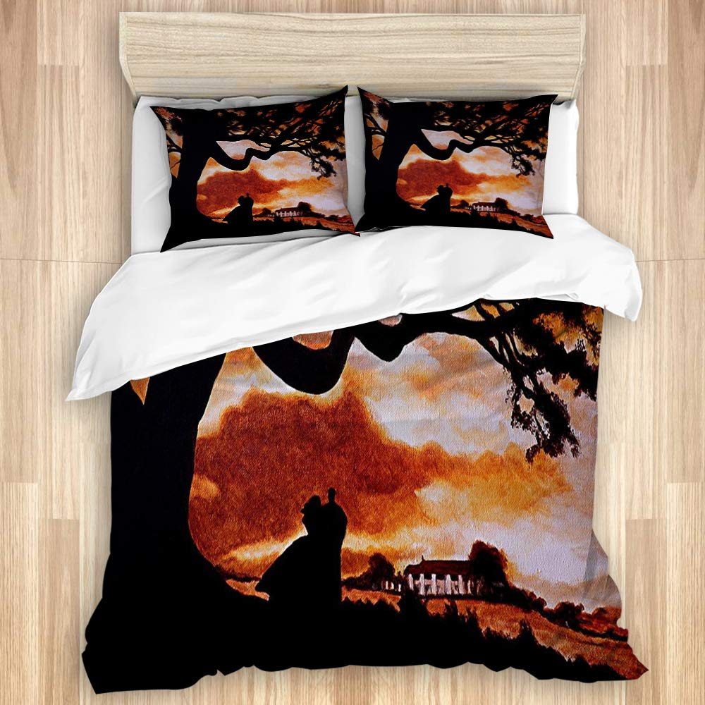 """TOVIHUA Luxury Bedding Duvet Cover Hotel Bedroom Dormitory,Gone with The Wind Movie Classic Movie Landscape Southern Home Sunsets,Four Seasons Available Personality New 3 Piece Set-Twin 68"""" x 88"""""""