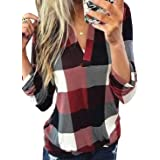 Zecilbo Women's Roll-Up Long Sleeve Plaid Shirt Tops Casual V Neck Pullover Tunic Blouses