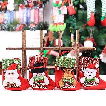 TOYESS 4Pcs/Set Media de Navidad Colgante Calcetín de Navidad Decoración de Navidad,Clásico