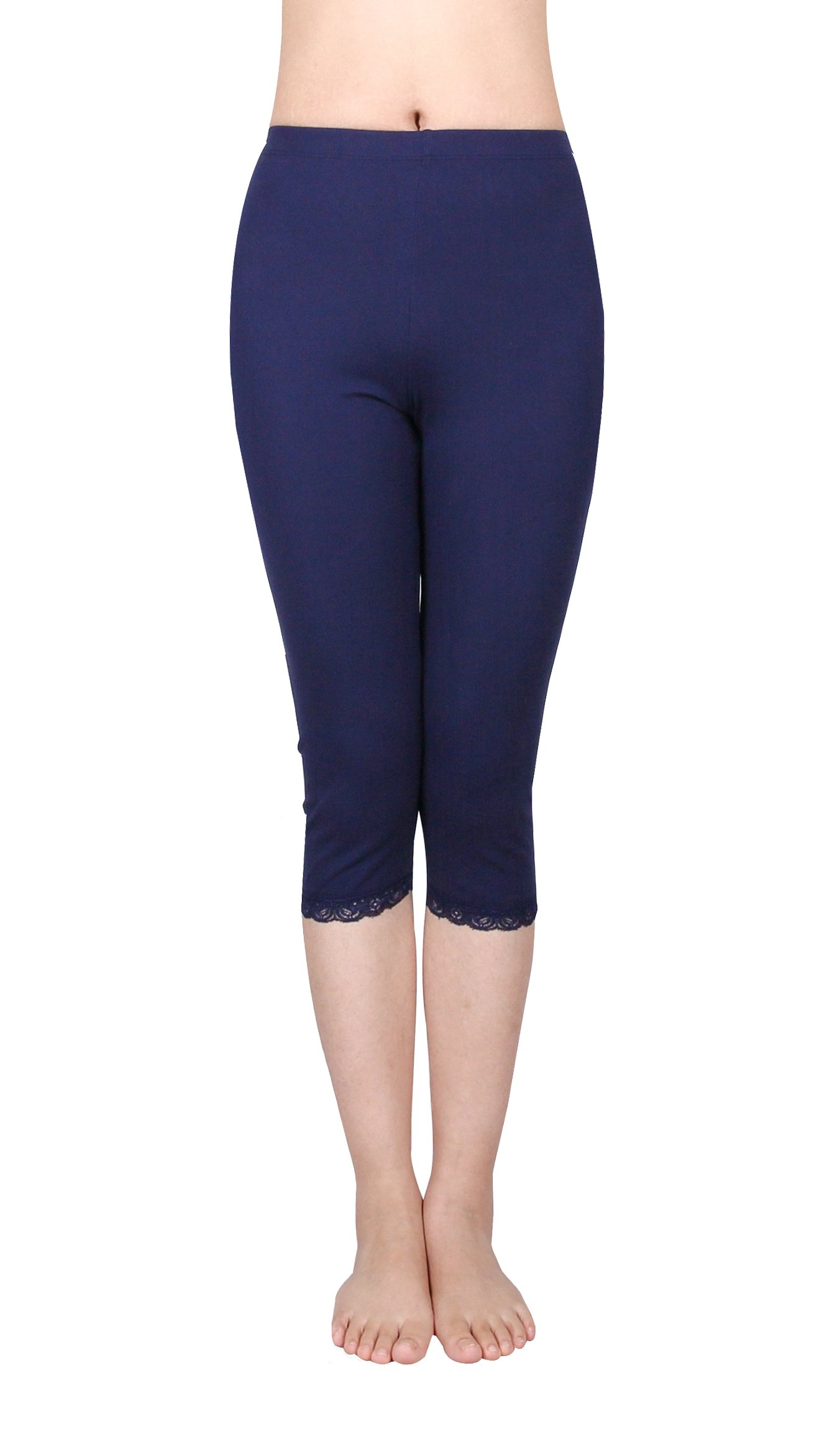 IRELIA 2 Pack Cotton Girls Leggings Capri with Lace Trim Pant Size 6-16 03 M by IRELIA (Image #2)