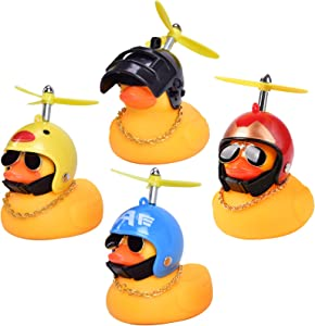 wuyule Rubber Duck Toy - 4 PCS Rubber Duck Toy Car Ornaments Yellow Duck Car Dashboard Decorations with Propeller Helmet for Men Women Kids Boy Girls (003)