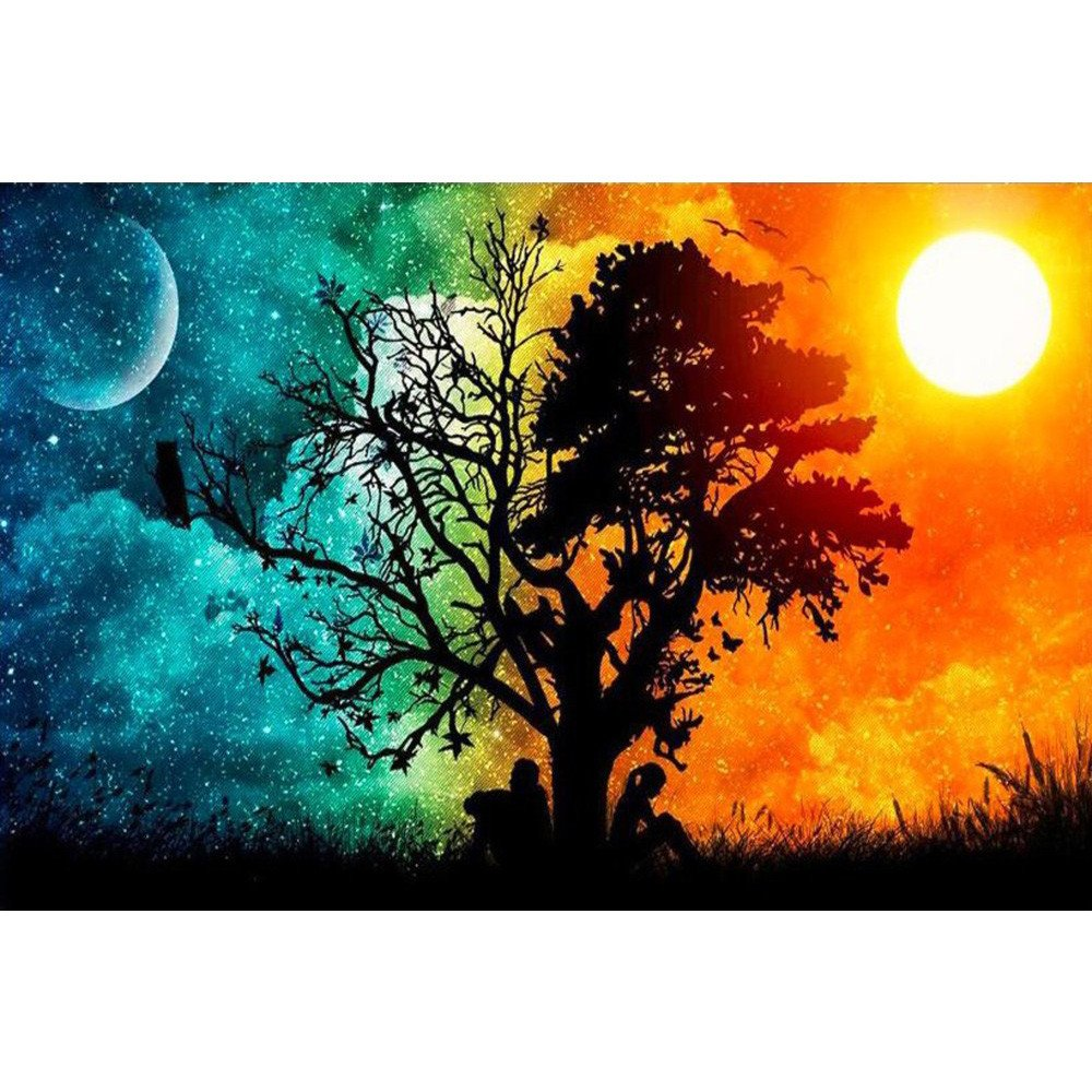 NIHAI DIY 5D Diamond Painting by Number Kit, Full Drill Starry Moon Tree Rhinestone Embroidery Cross Stitch Arts Craft Canvas Wall Décor, Contain Tools