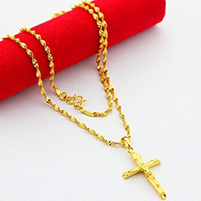 Cs db 24k gold real 24k yellow gold plated jesus cross pendant men cs db 24k gold real 24k yellow gold plated jesus cross pendant men women necklace aloadofball Images
