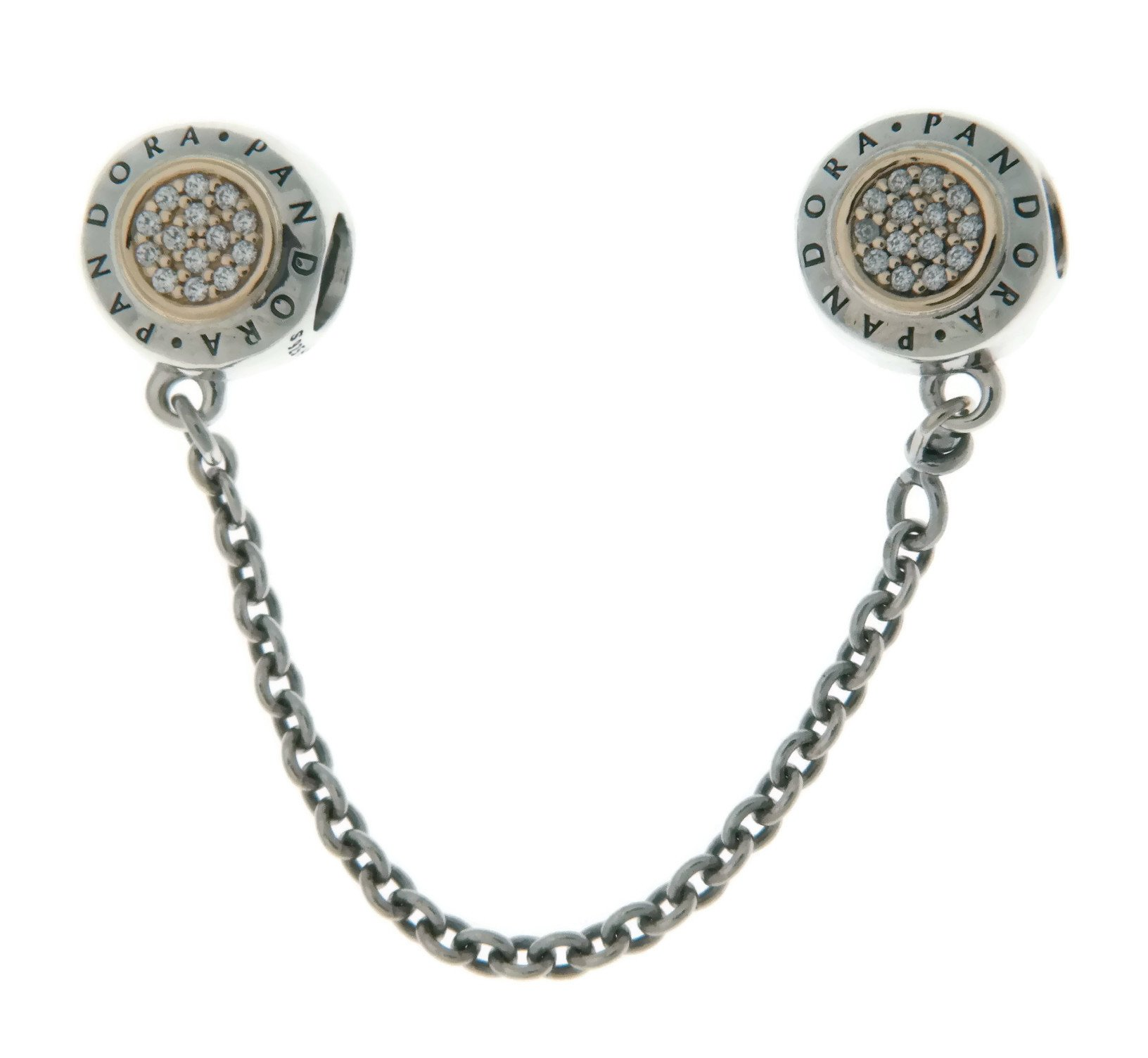 PANDORA Logo Safety Chain in Sterling Silver with 14k Gold and Clear Cubic Zirconia - 796269CZ-05