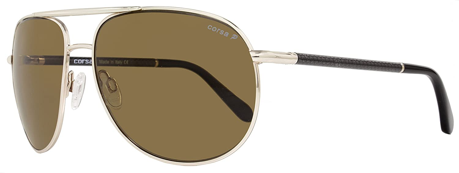 725175b830f Amazon.com  Corsa Aviator Sunglasses Marko C01 Light Gold Carbon Fiber  Polarized  Clothing