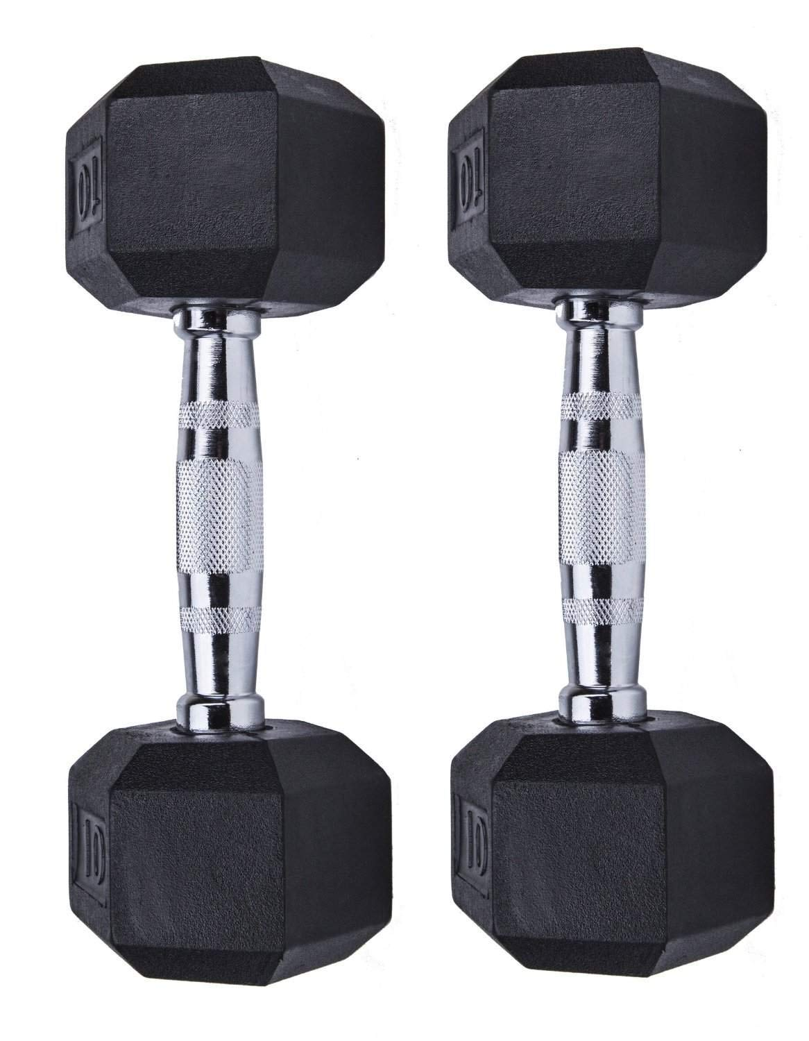 GYMENIST Set of 2 Hex Rubber Dumbbell with Metal Handles, Pair of 2 Heavy Dumbbell Choose Weight (15-LB)