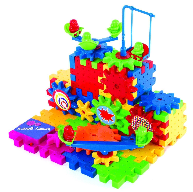 Krazy Gears Gear Building Toy Set - Interlocking Learning Blocks - Motorized Spinning Gears - 81 Piece Playground Edition