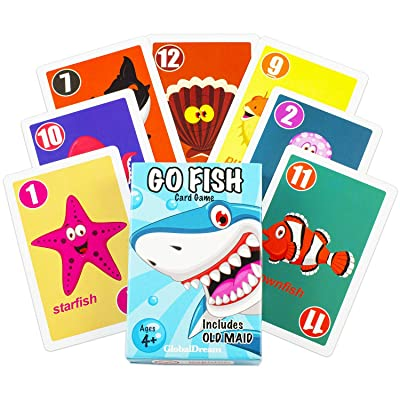 GlobalDream Go Fish Card Game for Kids - Go Fish and Old Maid - Colorful Design - Great for Children Ages 4-8: Toys & Games