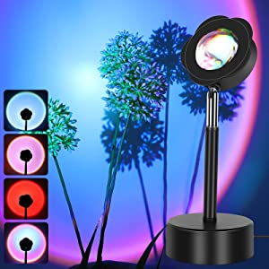 Sunset Lamp with 4 Kinds of Light, GUSODOR USB Sunset Light with 180 Degree Rotation, Night Light Projector Lamp Sunset for Photo Video Vlog Home Party Living Room Bedroom Indoor Decor (Rainbow)