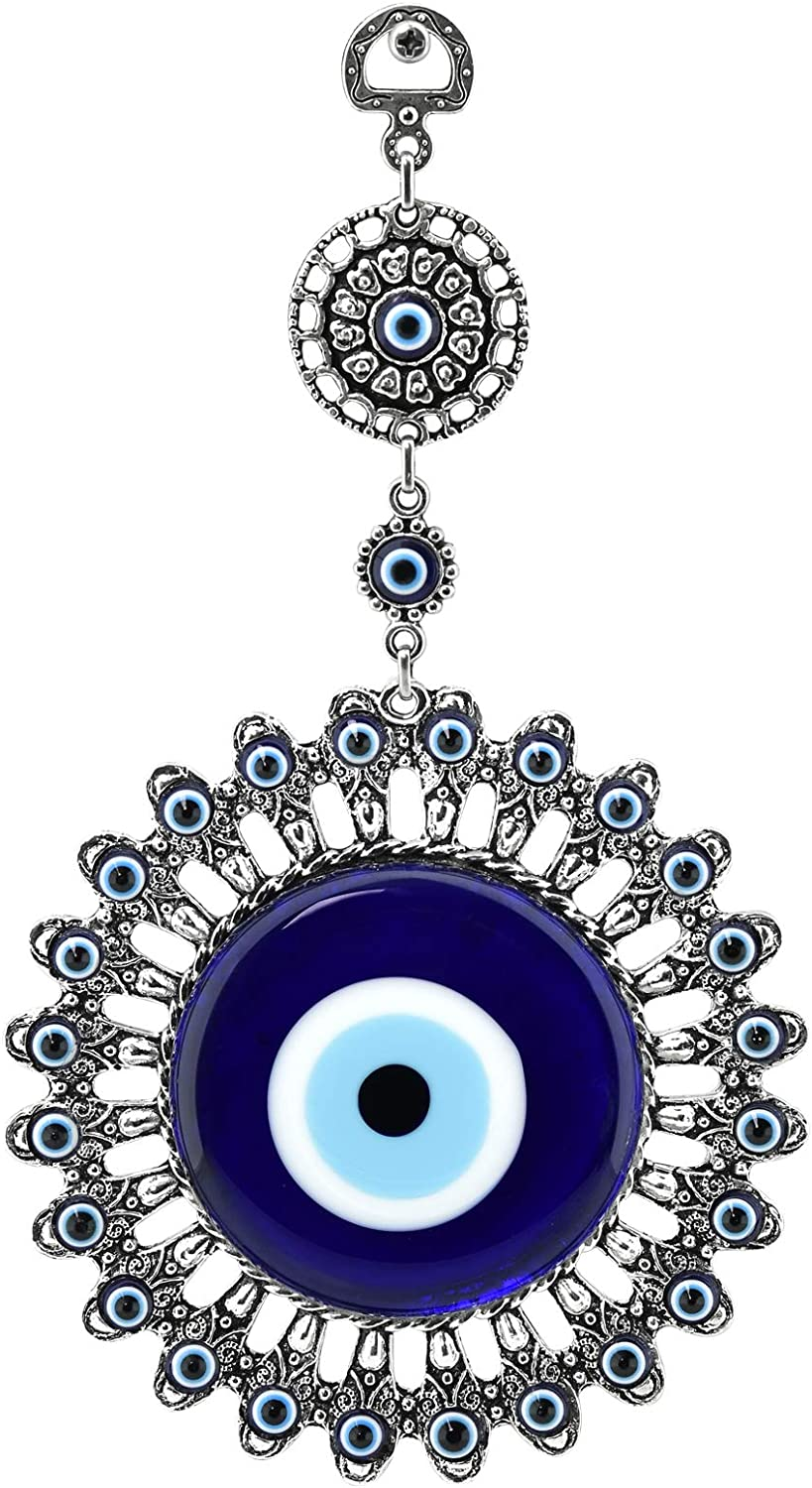 Protection and Good Luck Charm Gift in a Box Turkish Nazar Bead Amulet Erbulus Turkish Large Glass Blue Evil Eye Wall Hanging Ornament with Elephant Metal Home Decor
