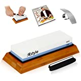 Premium Knife Sharpening Stone 2 side 1000/6000 - Whetstone with Base and Angle Guide - Waterstone Set for Chef Knives and Kitchen Blade Sharpener