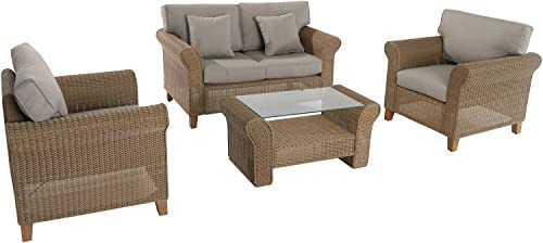 Hanover SEABREEZE4PC-GRY 4 Piece Sea Breeze Wicker Seating Set