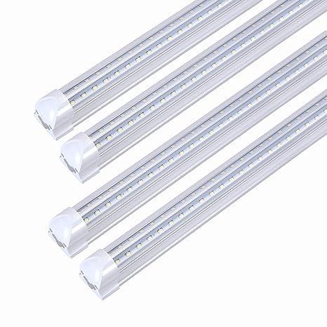 Trlife 8ft Led Light Fixtures 72w Led Tube Light 8ft 6000k Cool White Dual Side T8 V Shape Integrated 8 Foot Led Tube Lights 150w Fluorescent Light