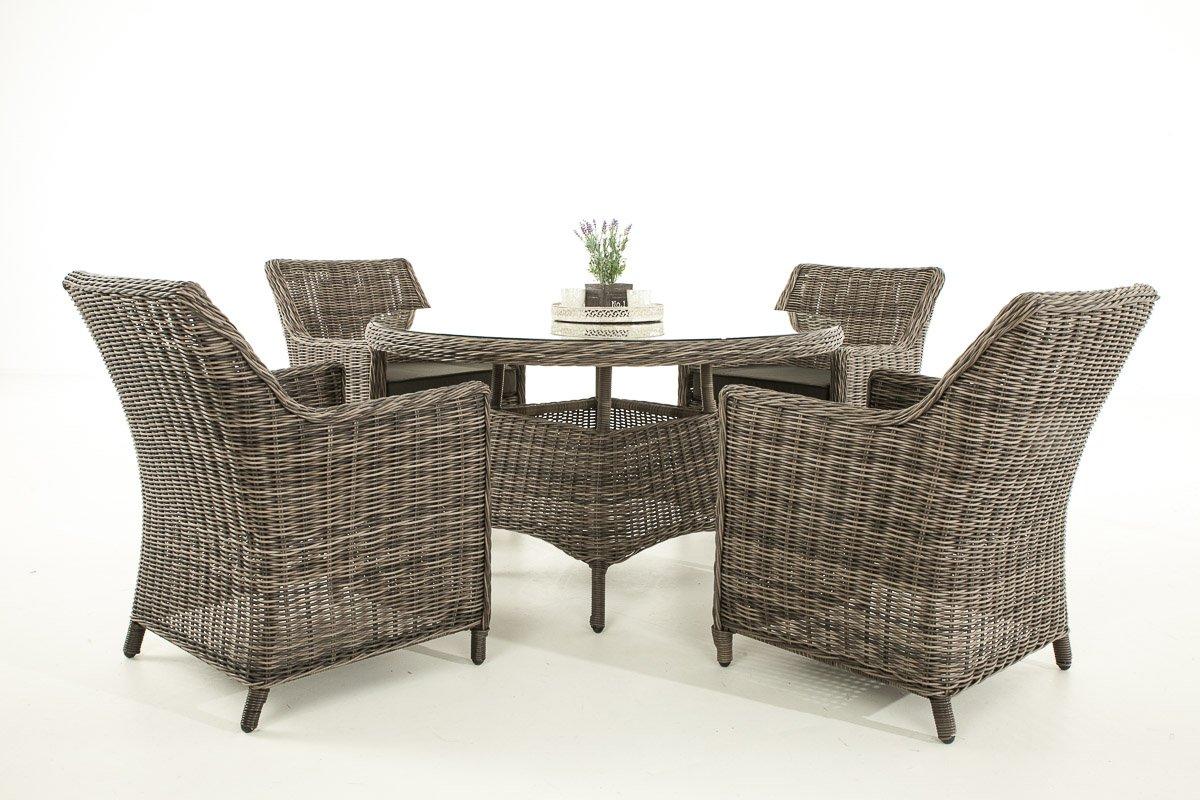 Garten-Garnitur CP064, Sitzgruppe Lounge-Garnitur, Poly-Rattan ~ Kissen anthrazit, grau-meliert