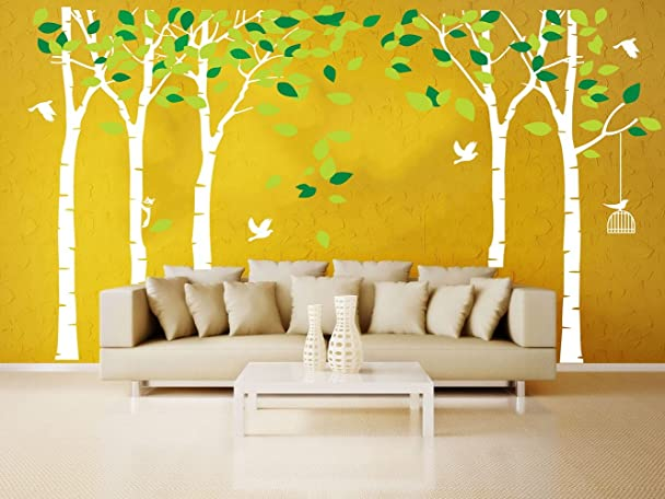 Amazon.com: LUCKKYY Large Five Trees Wall Stickers Forest Mural ...