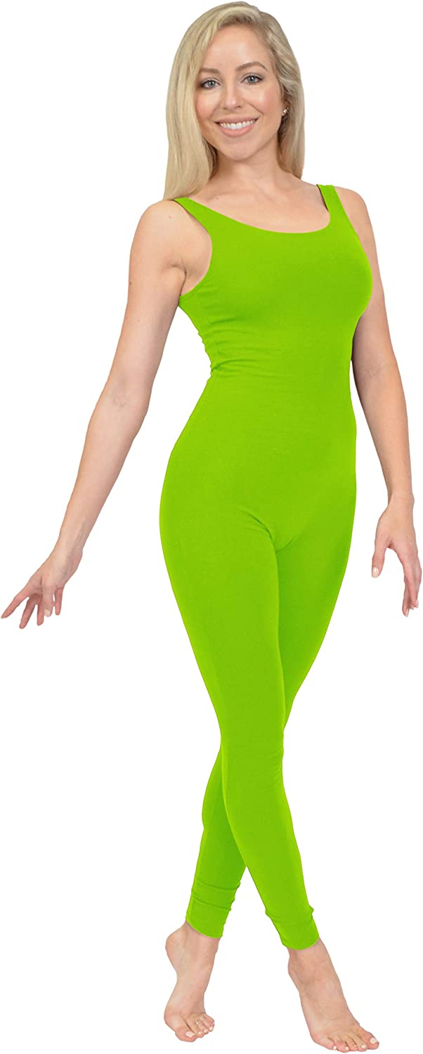 Stretch is Comfort Womens Comfortable Cotton Tank Unitard Lime Green 2X