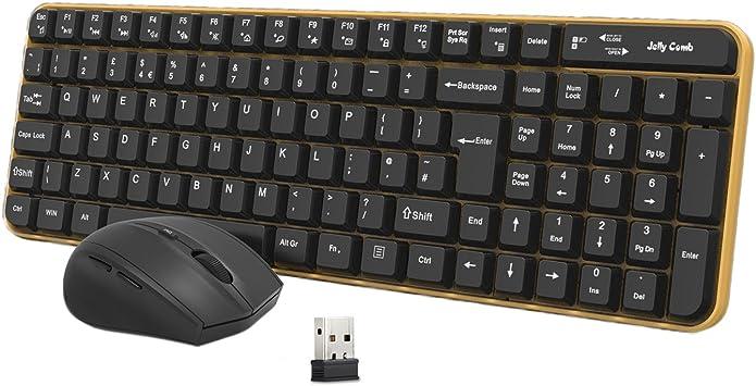 Jelly Comb Pack de Teclado y Ratón Inalámbrico para Ordenador de Sobremesa / Teclado y Ratón Inalámbrico 2.4 GHz (QWERTY Layout UK), Negro y Amarillo